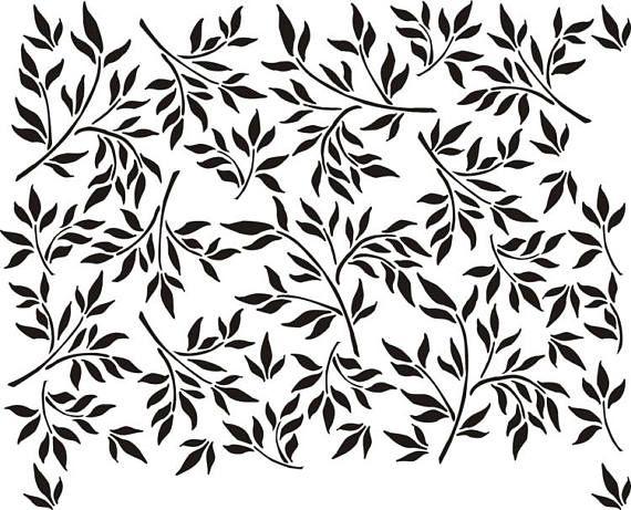 Stencil Wall Stencil Leaf Wallpaper Painting Etsy In 2020 Leaf Wall Stencil Stencils Wall Wallpaper Stencil