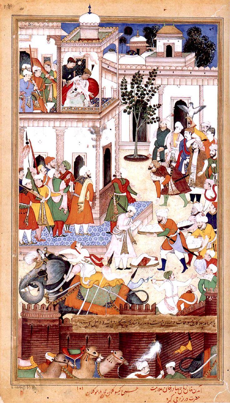 The Submission of the rebel brothers Ali Quli Khan Zaman and Bahadur Khan to Akbar at Karah, 1561 from the Akbarnama