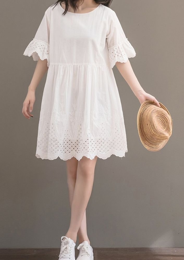 Women loose fitting over plus size white embroidered dress pregnant maternity #Unbranded #dress #Casual
