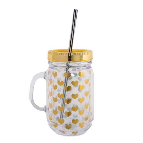Gold Foil Heart Mason Jar Glass with Straw | @giftryapp