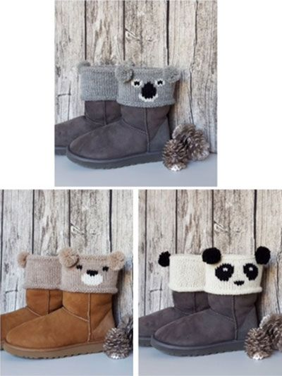 """These """"beary"""" sweet boot toppers are perfect for adding a bit of whimsy to your everyday look. They also make for a great, quick-to-stitch gift for friends and family! Knit with approximately 80 yds, which makes 3 pairs of toppers, at a gau..."""