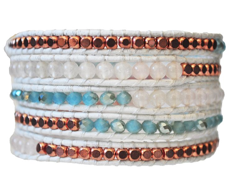 FALL 2014 style. Rose gold & Aqua Blue Wrap Bracelet on White Leather.  #RoseGold #Aqua #Aquamarine #Bronze #Leather #Jewelry #2014Fashion #FashionIdeas