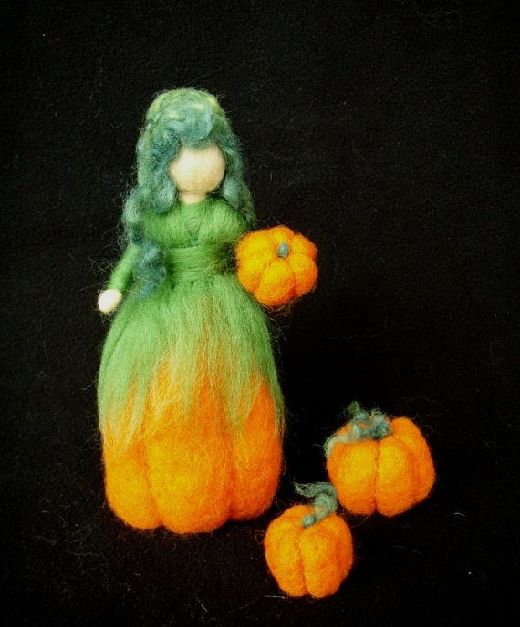 Harvest Fairy Doll Needle Felted Wool Pumpkin Soft Sculpture Waldorf inspired