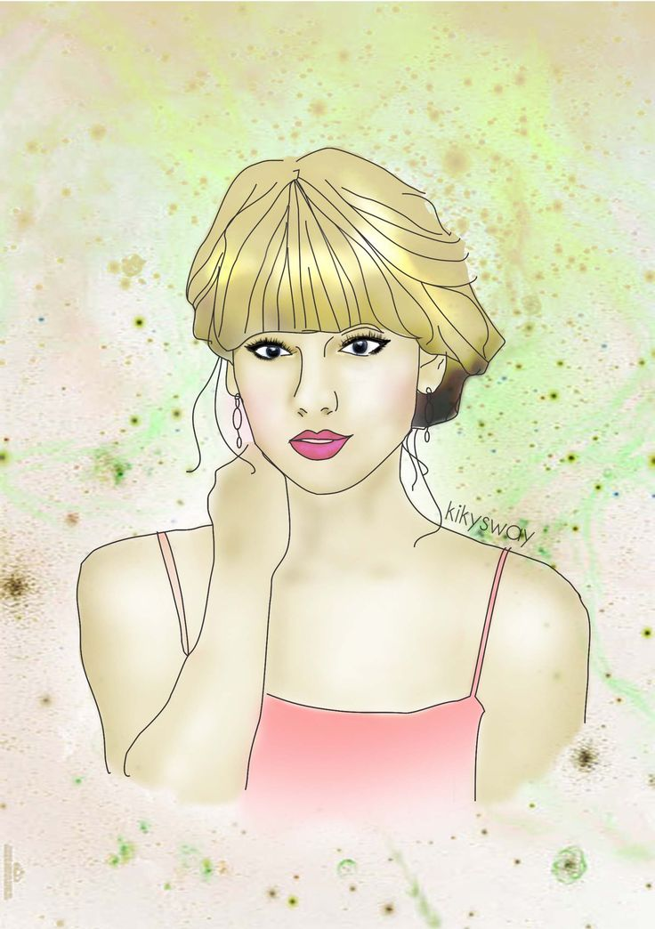 line art or vector doodle of the cute Taylor Swift ;)