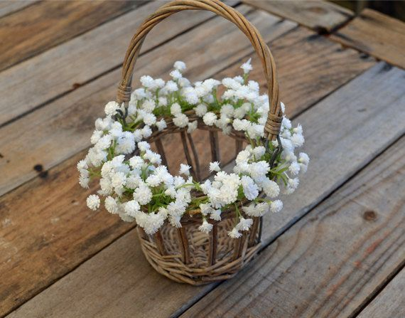 Flower Girl Basket - White Baby's Breath - Rustic Flower Girl Basket on Etsy, $37.06