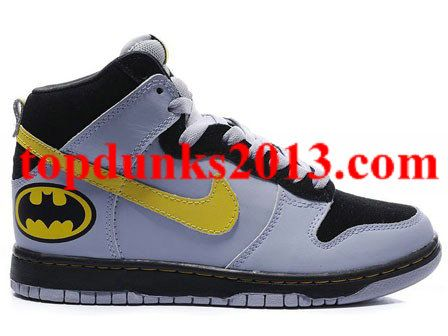 Discount High Top Nike Dunk Men Batmen Logo Pattern black blue yellow reef