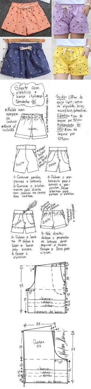 Short pants DIY – molde, corte e costura – Marlene Mukai. Short com elástico e barra italiana. Esquema de modelagem de short com elástico na cintura e barra italiana do 36 ao 56.