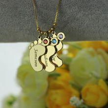 Gold baby nohy Charm kámen Mother náhrdelník Personalizované Děti Jméno náhrdelník Oslavte Maminky Děti kámen šperky (Čína (pevninská část))