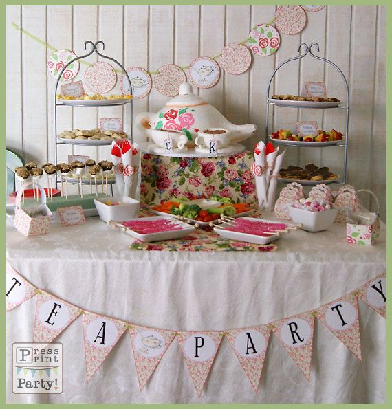 Tea Party Printables - DIY Party Supplies and Decorations - Complete set - Customizable - INSTANT DOWNLOAD pdf