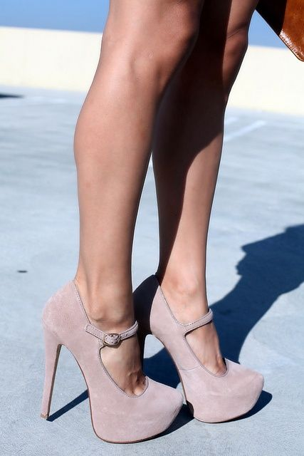 Nude Mary Jane Pumps ♥ I'm too tall for these But I'd still rock them being the tallest person in the room lol!