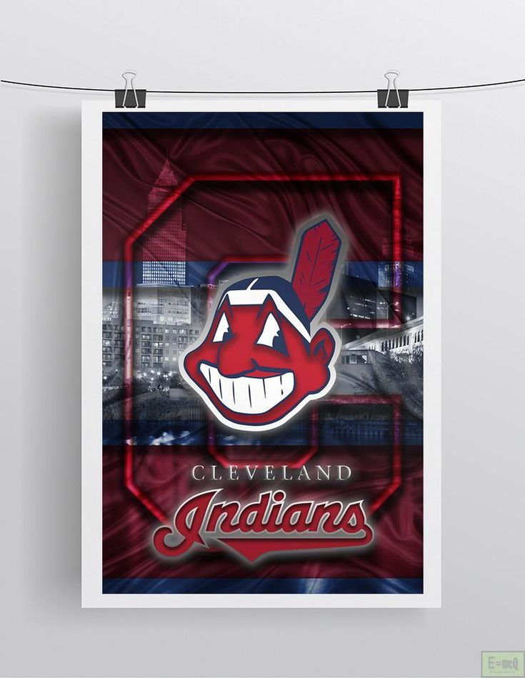 Cleveland Indians Poster, Cleveland Indians Artwork Gift, Indians In Front of Skyline, Baseball Man Cave Art