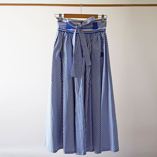 Made By Mee + Co | Blue + White Striped Skirt