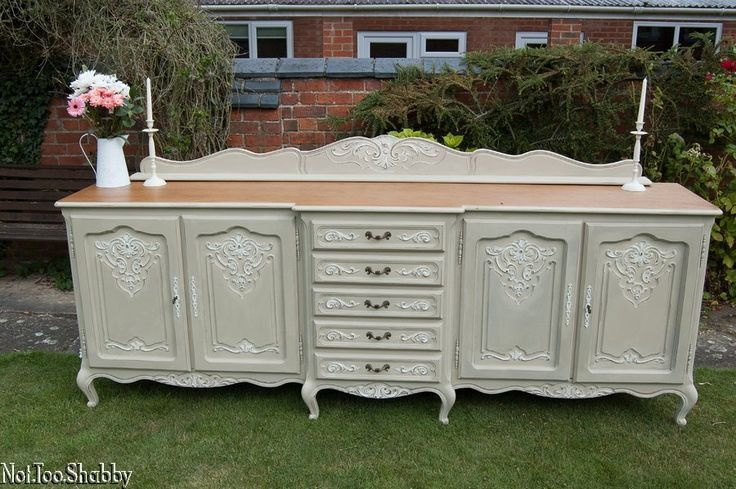 Beautiful Huge 8ft Breakfront french sideboard/  Dresser Hand painted Shabby Chic Annie Sloan
