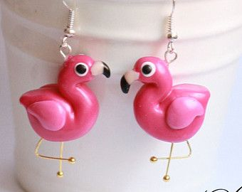CANDY flamingo earrings made from Polymer Clay - The legs are amazing!