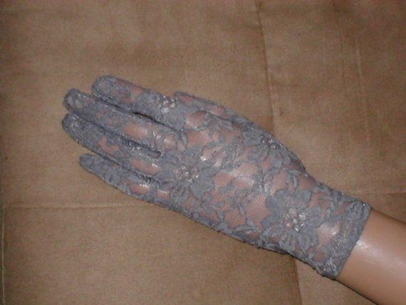Vintage grigio pizzo polso lunghezza guanti