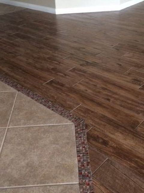 Perfect Glass/stone Mosaic Transition From The Tile To The Wood Look  Porcelain Tile! For Future Reference For The Living Room/entry Space.