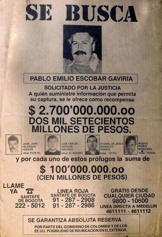 escobar wanted poster