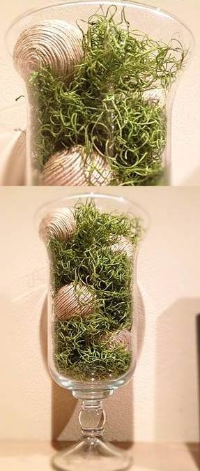 Moss & Twine Balls in Large Vase