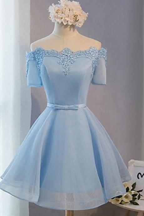 Azul de hombro vestido de una línea de regreso a casa con escote decorativo