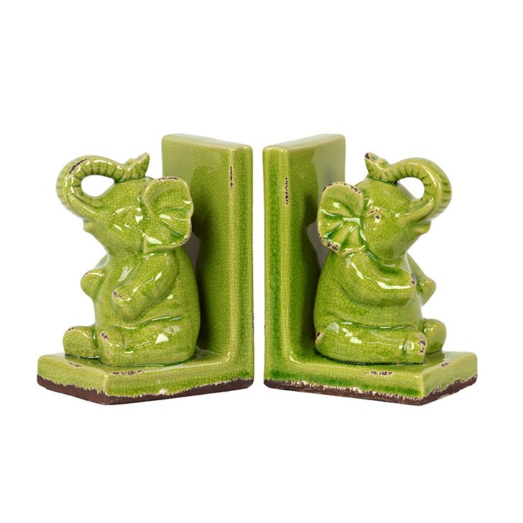 Elephant Bookends in Green | dotandbo.com