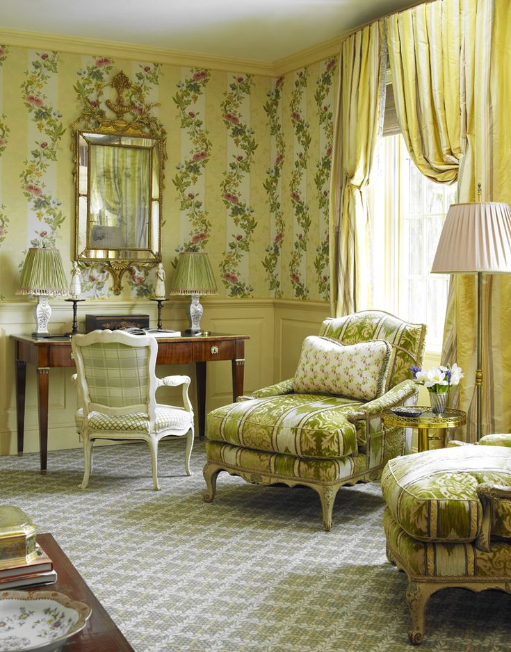 Alex Papachristidis Interiors - Genteel Country Colony Villa Lante as wall  upholstery with Scalamandre stripe on windows