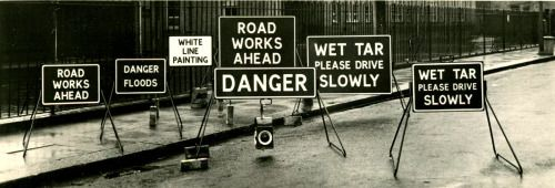"""furtho:  """" Manufacturers' photograph of roadworks signs (via Claude R Ball)  """"  The joy of signs."""