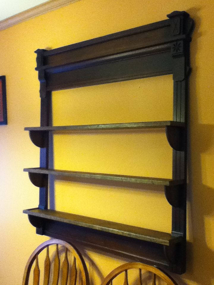 Pint glass display shelf, antique mirror frame with added shelves to display beer glasses