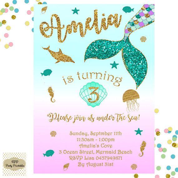 Invitación de sirena sirena cumpleaños por GlitterPerfectPixels
