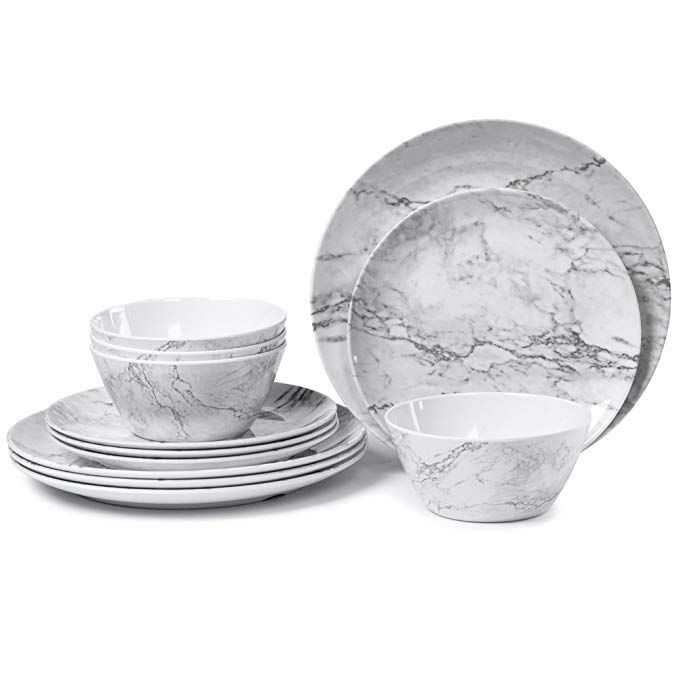 Amazon Com Melamine Dinnerware Set For 4 12 Piece Dinner Dishes
