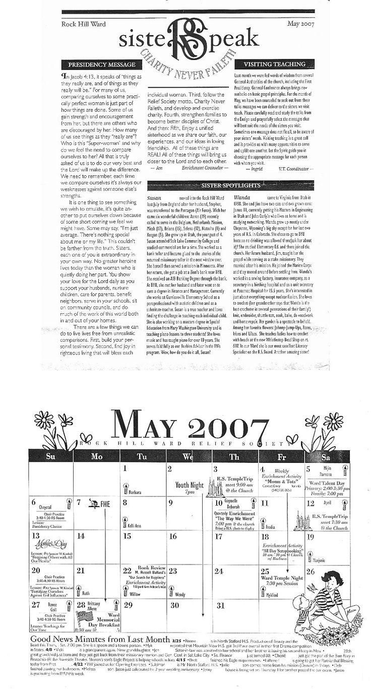 Karen Anderson RS Newsletter Sample | Mormon Share