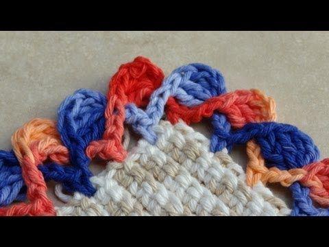Passo a passo Barrado/Bico em crochê - Crochet border video in Portuguese