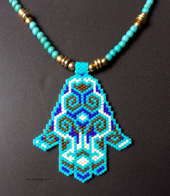 Fatima's Hand Necklace Beaded Necklace Turquoise by NazoDesign