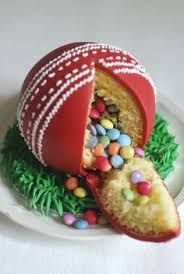 cricket ball pinata cake