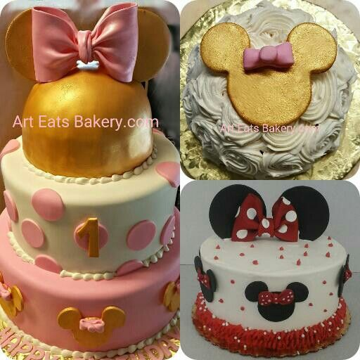 great girls minnie mouse cakes designs 3 tier round pink and dark gold buttercream - Birthday Cake Designs Ideas