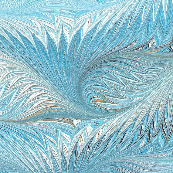 Marbled Paper handmade blue birdwing pattern 19x25in by artonwater