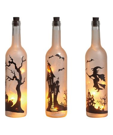 Another great find on #zulily! LED Halloween Wine Bottle Candle Set #zulilyfinds