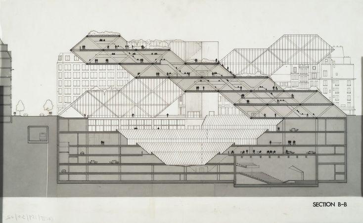 Moshe Safdie | Propuesta para el Museo Pompidou | París. Francia | 1971