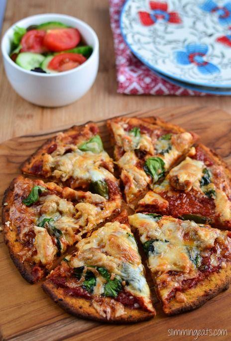 Slimming Eats Sweet Potato Pizza Crust Recipe - Gluten Free, Dairy Free, Grain Free, Paleo, AIP, Slimming World, Weight Watchers and Vegetarian friendly