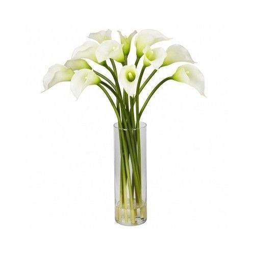 Flower Floral Arrangement Silk 20-inch Mini Calla Lily Flower Cream Natural #NearlyNatural