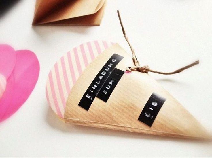 DIY-Anleitung: Einladungskarte in Eisform selber basteln, Einladung zum Kindergeburtstag / DIY tutorial: crafting ice cream card yourself, children's birthday invitation via DaWanda.com