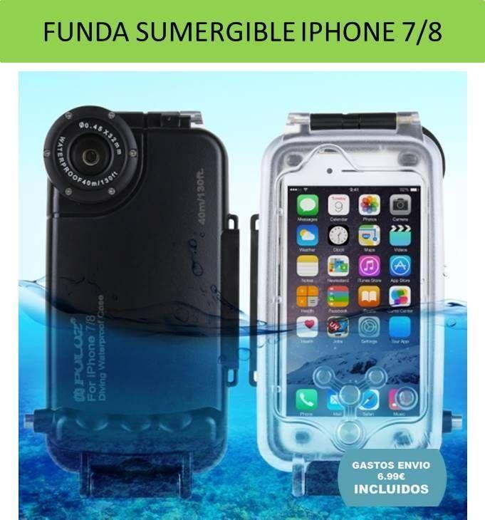 Fundas iPhone carcasas y accesorios moviles. Funda sumergible para iPhone 7 e iPhone 8 recomendada para buceo, submarinismo, nieve,
