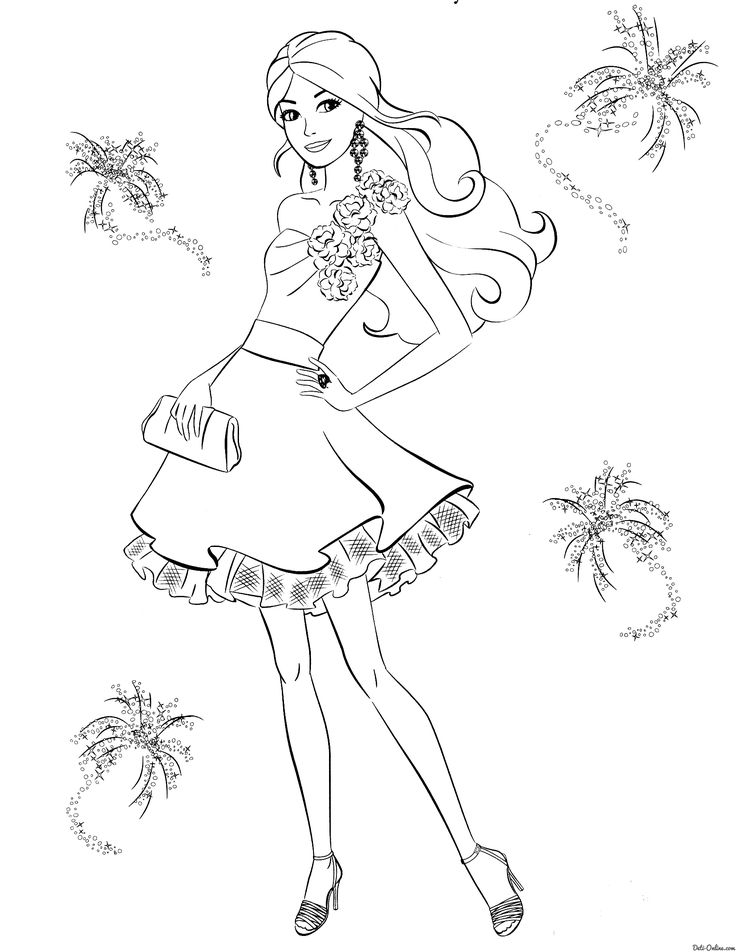 Раскраска Модное платье Барби | Принцесса раскраски ...