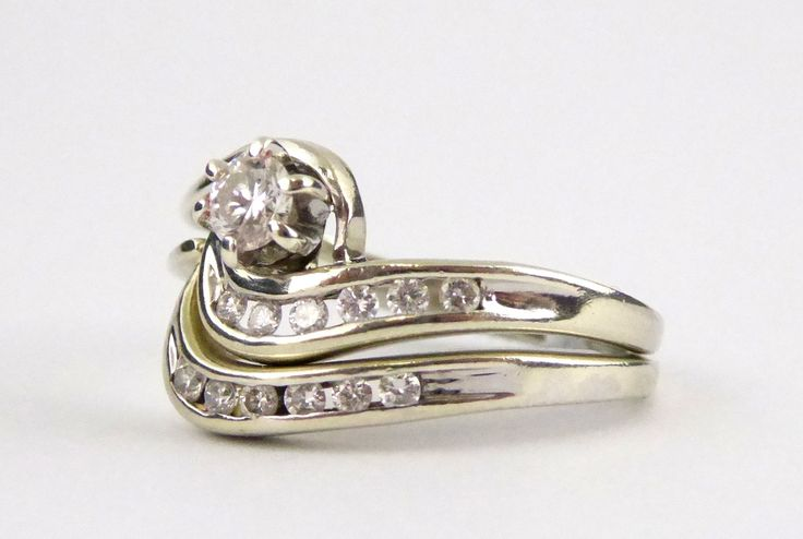 2 Piece White Gold Ring set with Diamonds Setting Size J - The Collectors Bag