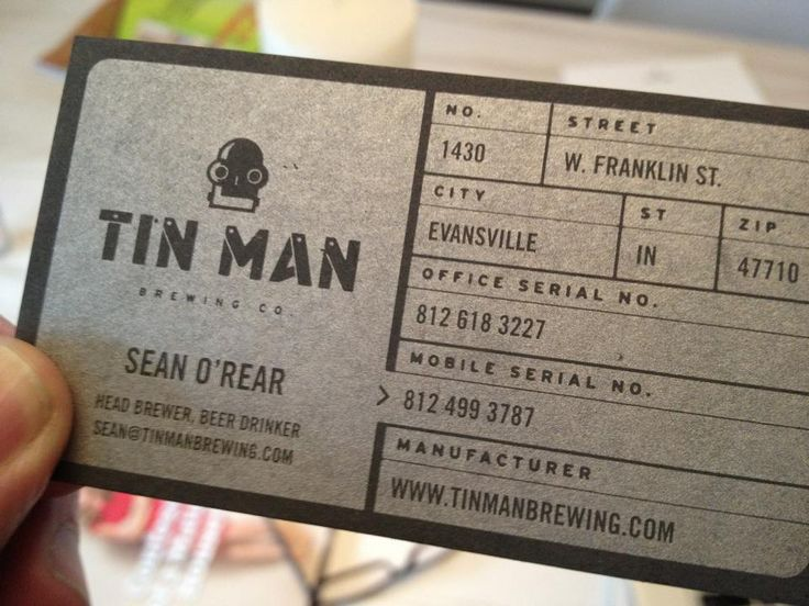Tin Man business cardsMan Brew, Awesome Business, Tin Man, Tins Man, Business Cards Creative, Graphics Design, Brew Business, Man Business, Brewery Business