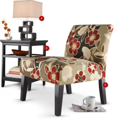 Target: Avington Armless Slipper Chair - Red Floral, Home Carson Accent End Table - Ebony Black, Exotic Retreat Table Lamp - Espresso Base/Tan Shade. (Future reference, good idea for the 'computer room' ?)