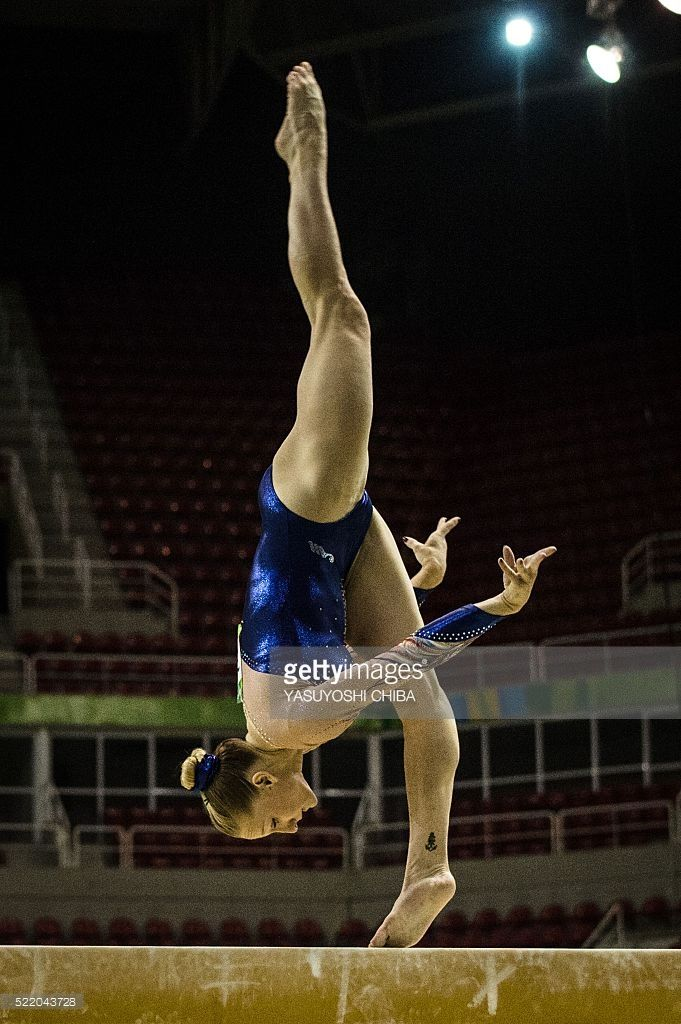 France's Marine Brevet performs at the balance beam during the artistic gymnastics test event for the Rio 2016 Olympic Games at the Rio Olympic Arena in the Olympic Park in Rio de Janeiro, Brazil, on April 17, 2016