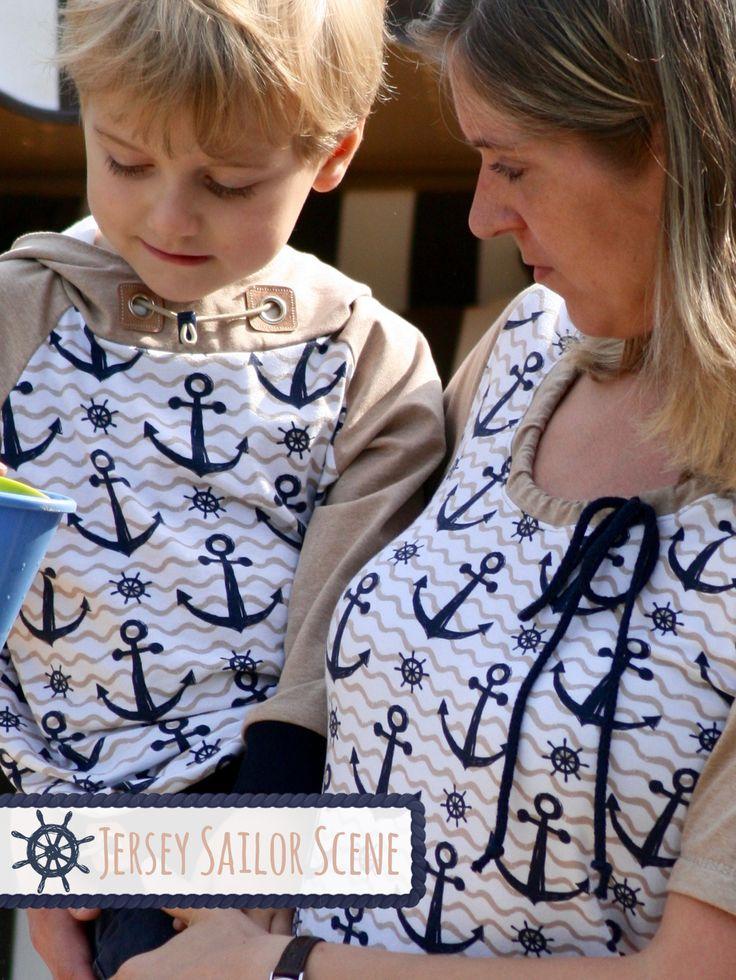 """Die liebe Angela hat tolle Partnerlook-Outfits für sich und Ihren Sohn gezaubert - natürlich aus unserem Jersey """"Sailor Scene"""" ⚓ #stickandstyle"""