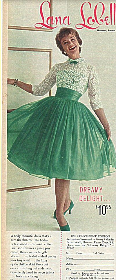 lana lobell | Lana Lobell dress ad 1958 (1958 Fashion Model Ads) at Miss Pack Ratz