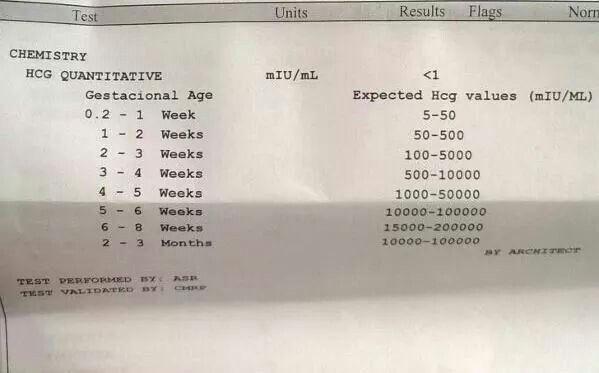 This is a Quantitative test to know if you are pregnant and how much time you have been pregnant — these results are <1 . That means NEGATIVE | Esta prueba de embarazo es Quantitativa . La misma sale <1 que está por debajo de los 5 hcg que indicarían que estas embarazada.