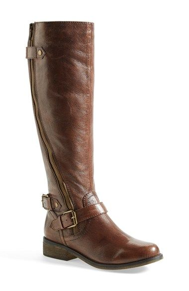 "Steve Madden 'Synicle' Boot (Women) $139.95	Free Shipping	 Item #751983  A curved zipper flies up the leather shaft of a riding boot with buckle detailing at the ankle. 1 1/4"" heel. 15"" boot shaft height; 14"" circumference. Leather upper/synthetic lining and sole. By Steve Madden; imported. BP. Shoes."